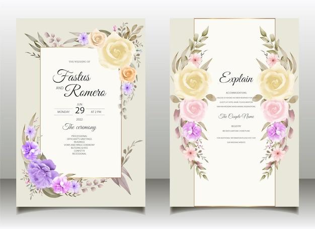 Bellissimo disegno a mano acquerello invito a nozze e modello di menu con natura morbida gratuito