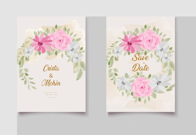 Bellissimo disegno floreale per invito a nozze con disegno a mano