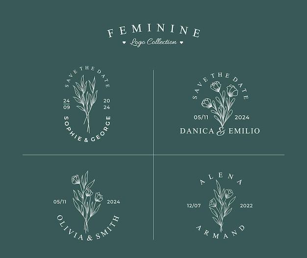 Logo botanico disegnato a mano bella con set di raccolta badge