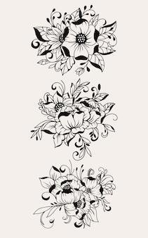 Bouquet di fiori disegnato a mano bella