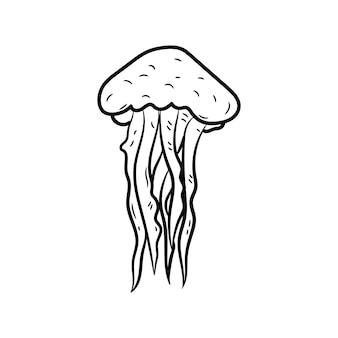 Bella icona disegnata a mano di meduse alla moda schizzo nero disegnato a mano
