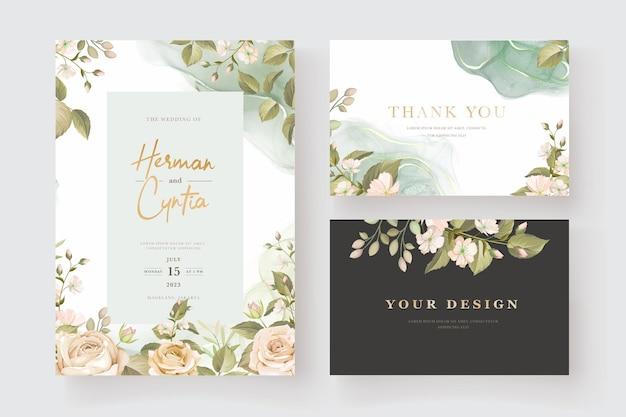 Bellissimo set di carte di invito a nozze con rose disegnate a mano