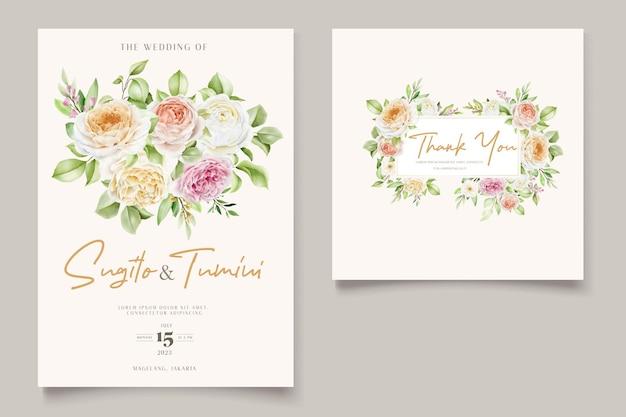 Bellissimo set di carte di invito a nozze con rose disegnate a mano Vettore Premium