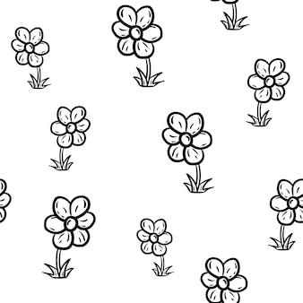 Icona del fiore di moda modello senza cuciture disegnato a mano bella. schizzo nero disegnato a mano. segno / simbolo / scarabocchio. isolato su sfondo bianco. design piatto. illustrazione vettoriale.
