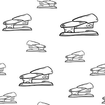 Bella icona cucitrice moda modello disegnato a mano senza cuciture. schizzo nero disegnato a mano. segno / simbolo / scarabocchio. isolato su sfondo bianco. design piatto. illustrazione vettoriale.