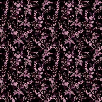 Bella piccola scala disegnata a mano di fiori botanici scuri nel giardino notturno senza cuciture in, design delicato ed elegante per moda, tessuto, carta da parati, avvolgimento e tutte le stampe.