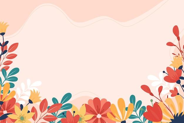 Bellissimo sfondo primaverile disegnato a mano con fiori