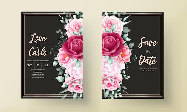 Bella carta dell'invito di nozze del fiore dell'acquerello disegnato a mano