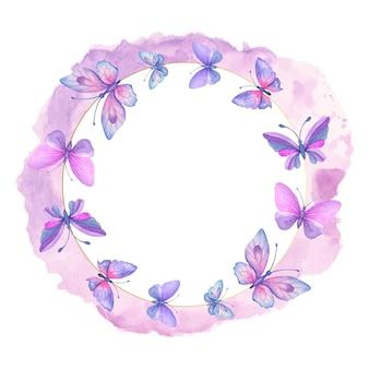 Bella cornice di farfalle di primavera acquerello disegnata a mano