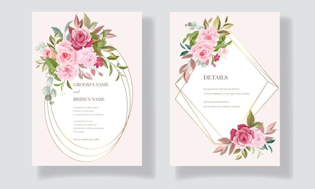 Modello di carta di nozze disegnato a mano bella con cornice floreale bordeaux e rosa e decorazione del bordo