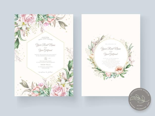 Modello di carta di nozze disegnati a mano bella