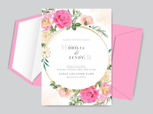 Bellissimo modello di carta di invito matrimonio disegnato a mano con disegno rosa rosa