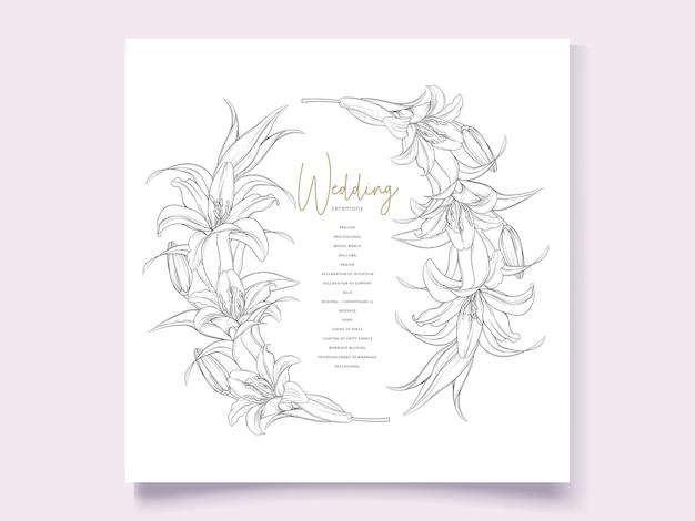 Bellissimi fiori di giglio ghirlanda disegnata a mano
