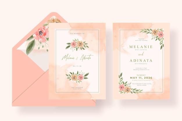 Bellissimo invito a nozze ad acquerello floreale dipinto a mano