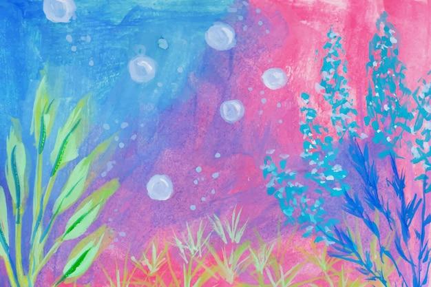 Un bellissimo dipinto a mano sotto lo sfondo dell'acquerello di guazzo di mare
