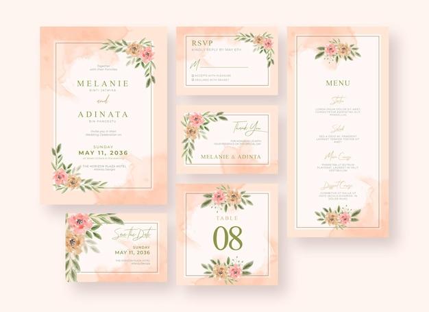 Bellissima collezione di cancelleria per matrimonio dipinta a mano con acquerello floreale Vettore Premium