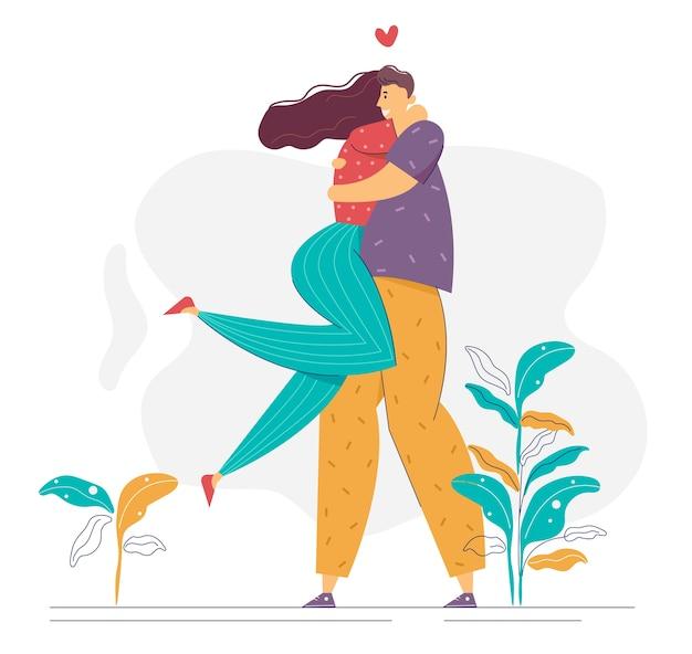 Bella coppia felice. i personaggi di uomo e donna innamorati si abbracciano