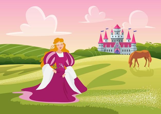 Bella principessa felice o signora che tiene i fiori che cammina nel paesaggio del prato vicino al castello