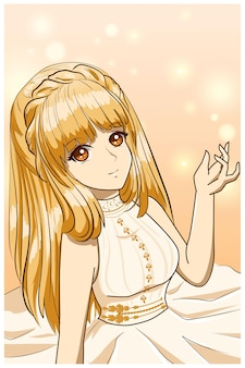 Bella e felice principessa con con lunghi capelli gialli illustrazione