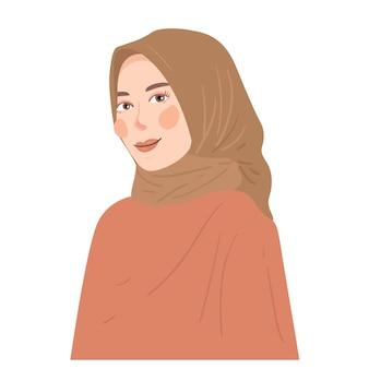 Bella illustrazione del fumetto del ritratto della donna del hijab