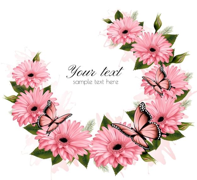 Bellissimo biglietto di auguri con fiori rosa. vettore.