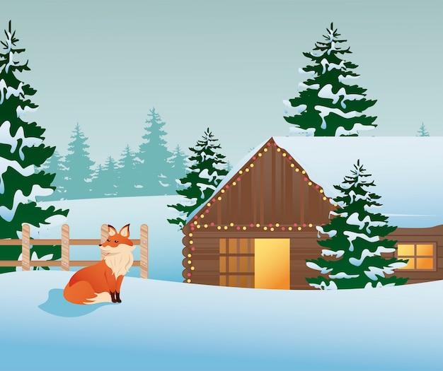 Bella illustrazione della scena del paesaggio invernale della volpe e della casa