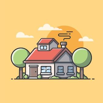Bella casa con nuvole e tramonto ... icona di architettura di costruzione casa