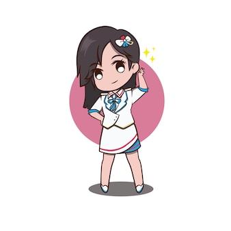 Bella illustrazione cheerleader versione chibi