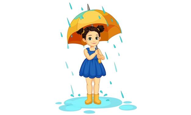 Bella illustrazione della bambina sveglia con l'ombrello che sta sotto la pioggia