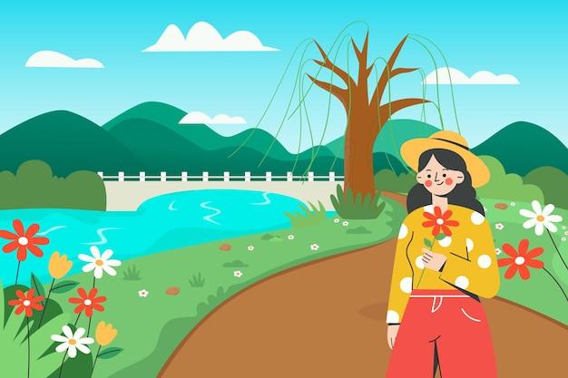 Bella illustrazione della ragazza che va a fare una gita in primavera