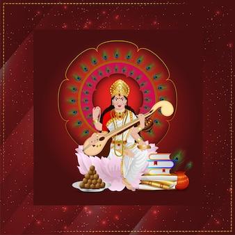 Bella illustrazione della dea saraswati con elemento creativo e sfondo