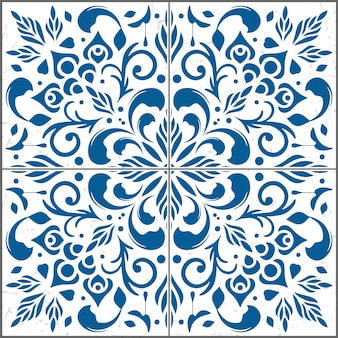 Bella illustrazione del motivo ornamentale delle mattonelle.