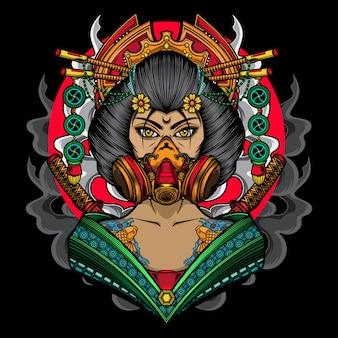Bella donna geisha giapponese