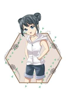 Bella ragazza giapponese con giacca corta bianca e pantaloni corti blu illustrazione