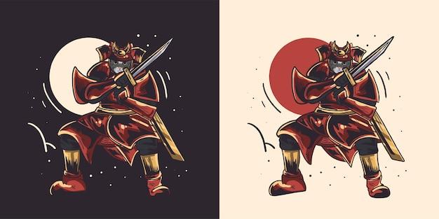 Bella illustrazione giapponese del gatto del samurai