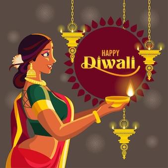 Bella signora che tiene la lampada diwali in uno sfondo dorato di una lampada a sospensione