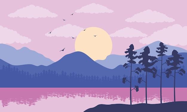 Bella scena del paesaggio con il lago di colore viola e l'illustrazione degli alberi