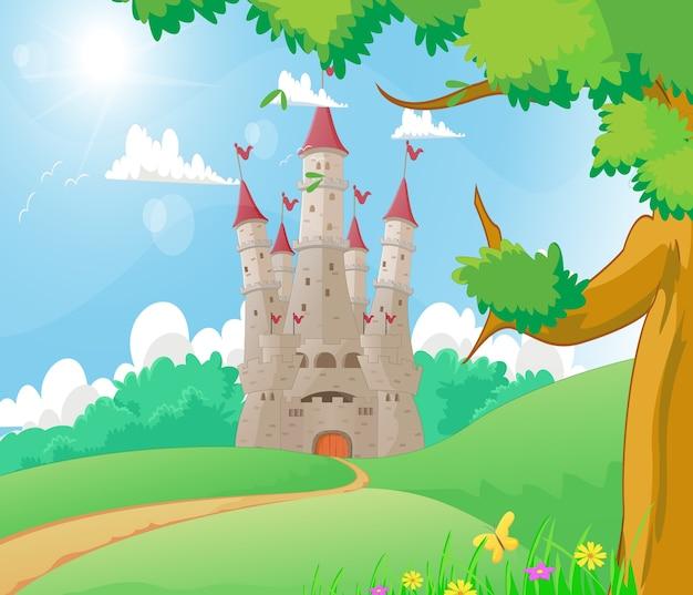 Bellissimo paesaggio con il castello di fiaba
