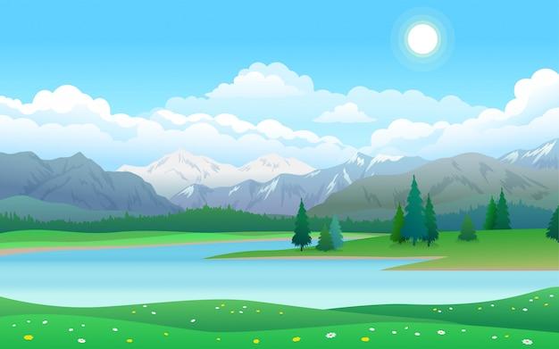 Bellissimo paesaggio con lago, foresta e montagne Vettore Premium