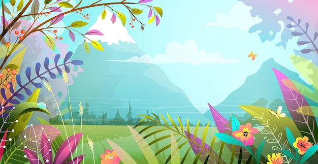 Bellissimo paesaggio con alberi fiori erba e montagne. natura magica scenario celeste, illustrazione moderna in stile acquerello.