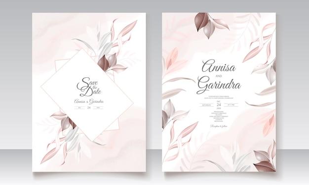 Modello di carta di invito matrimonio cornice di belle foglie