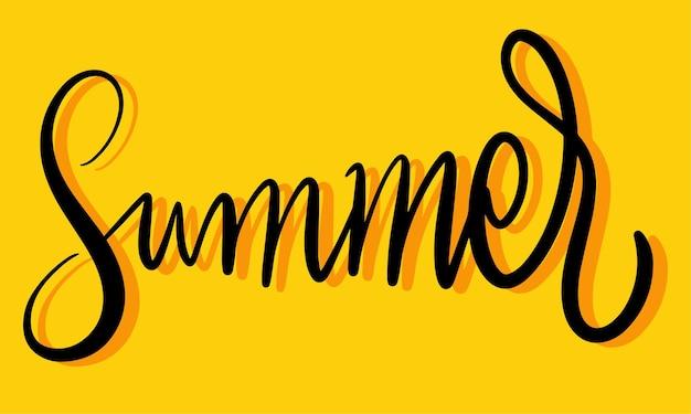 Bella scritta estate vettore freschezza estate poster concetto giallo biglietto di auguri