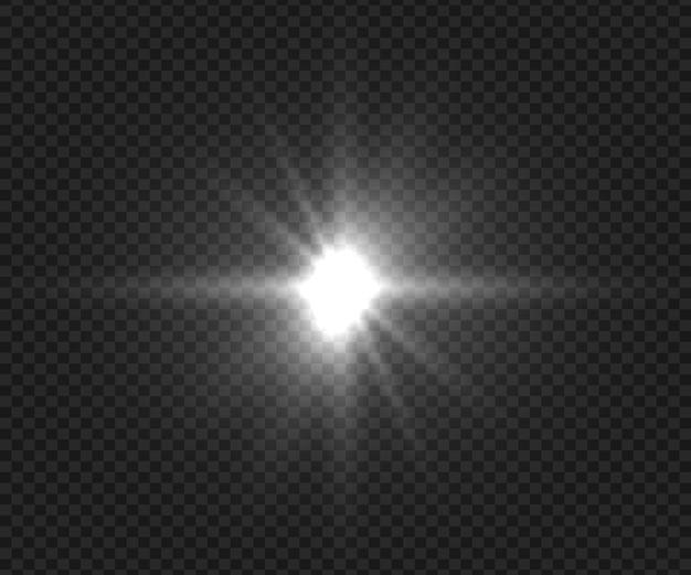 Bella luce esplode. effetti radiali di luminosità incandescente. elemento flash realistico della fotocamera