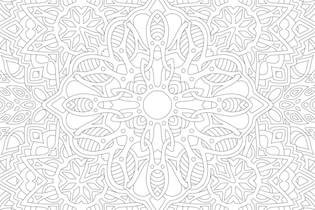 Bella illustrazione lineare per libro da colorare per adulti con motivo a rettangolo astratto nero su sfondo bianco