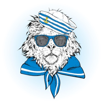 Bellissimo leone con un berretto da marinaio