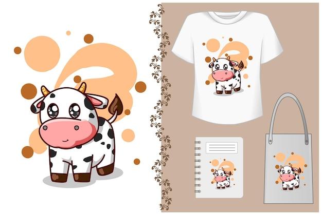 Bella piccola illustrazione di mucca bambino carino