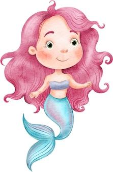 Bellissima sirenetta con i capelli rosa dipinti ad acquerello su sfondo bianco