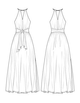 Bellissimo modello di schizzo del vestito log