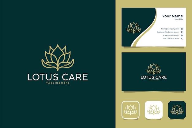 Bellissimo design del logo di cura del loto e biglietto da visita