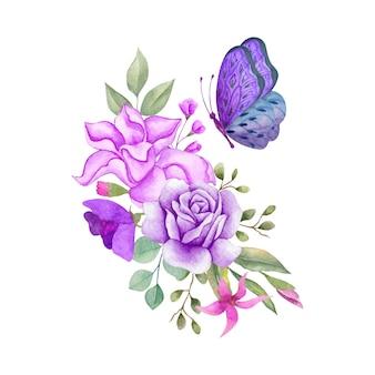 Bella bella decorazione del mazzo di fiori e foglie dell'acquerello